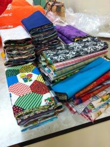 piles of fabrics