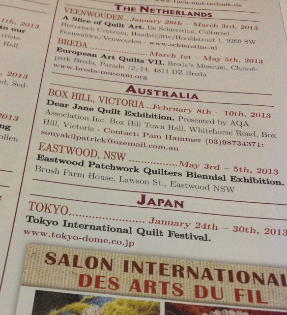Quiltmania Diary Dates